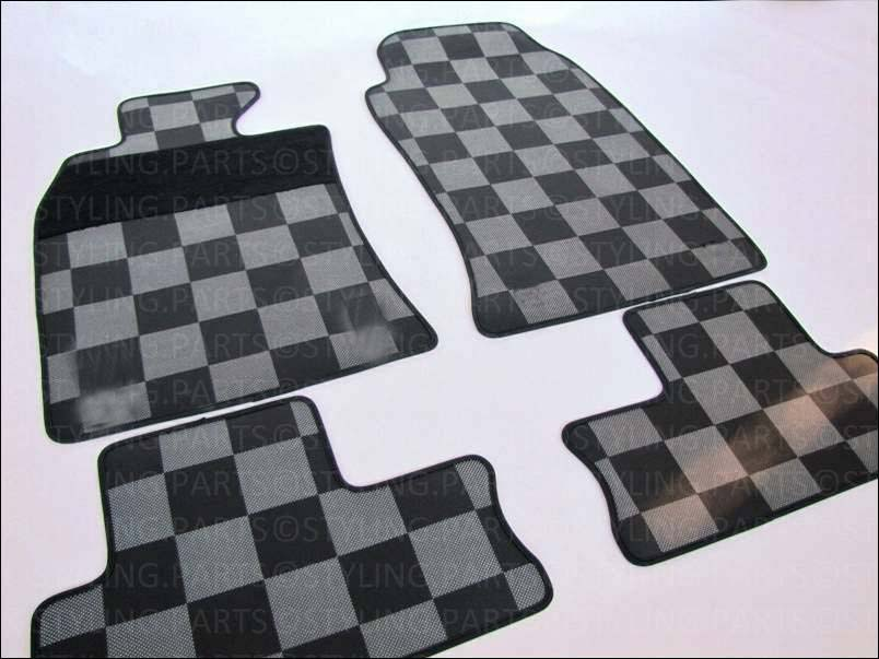 mini one cooper gummimatten checkered flag r55 r56 r57 ebay. Black Bedroom Furniture Sets. Home Design Ideas