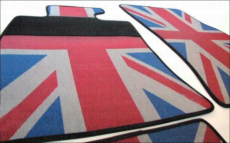 mini one cooper s gummimatten union jack farbig r58 coupe. Black Bedroom Furniture Sets. Home Design Ideas